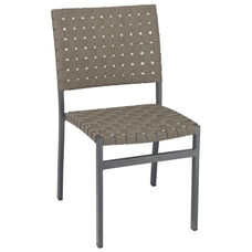 St. Augustine Collection Stackable Outdoor Side Chair with Mesh Belt Seat and Back - Anthracite Frame and Brown Seat