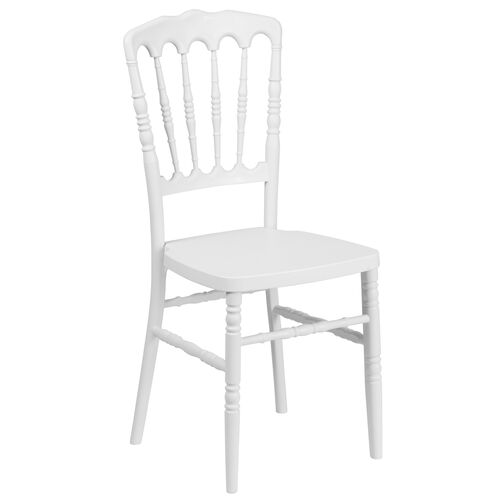 "Our HERCULES Series White Resin Stacking Napoleon Chair with <span style=""color:#0000CD;"">Free </span> Cushion is on sale now."