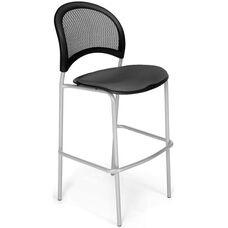 Moon Cafe Height Chair with Fabric Seat and Silver Frame - Slate Gray