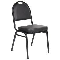 Caressoft™ and Black Powder Coated Steel Frame Banquet Chair - Set of 4 - Black
