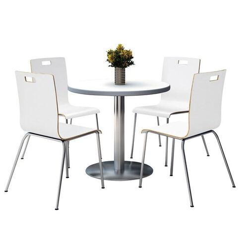 Round Laminate Table Set with White Finish Bentwood Cafe Chairs - Seats 4