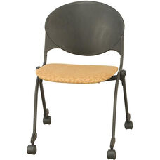 2000 Series Stacking Multipurpose Steel Frame Polypropylene Chair with Upholstered Seat and Casters