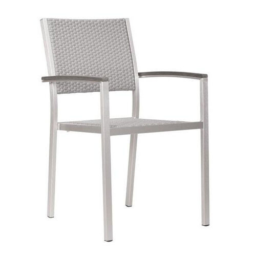 Metropolitan Dining Arm Chair in Brushed Aluminum