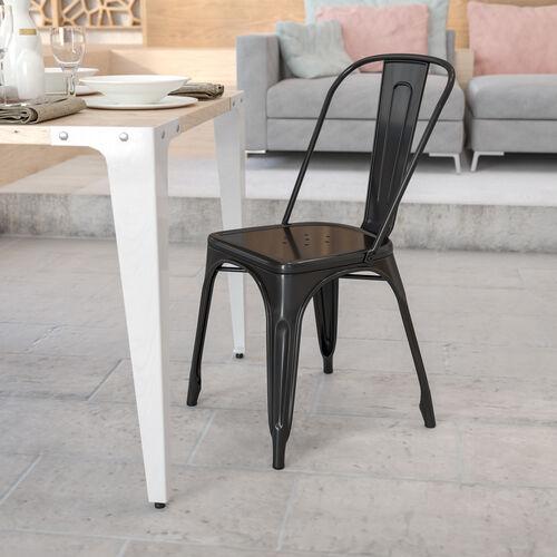 Commercial Grade Metal Indoor-Outdoor Stackable Chair