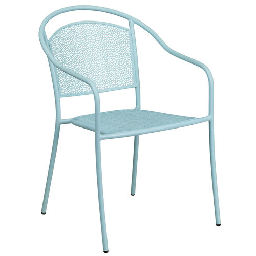 Our Sky Blue Indoor-Outdoor Steel Patio Arm Chair with Round Back is on sale now.