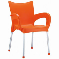 Romeo Outdoor Resin Stackable Dining Arm Chair with Aluminum Legs - Orange