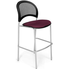 Moon Cafe Height Chair with Fabric Seat and Silver Frame - Burgundy