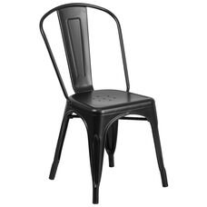 Matte Black Metal Indoor-Outdoor Stackable Chair