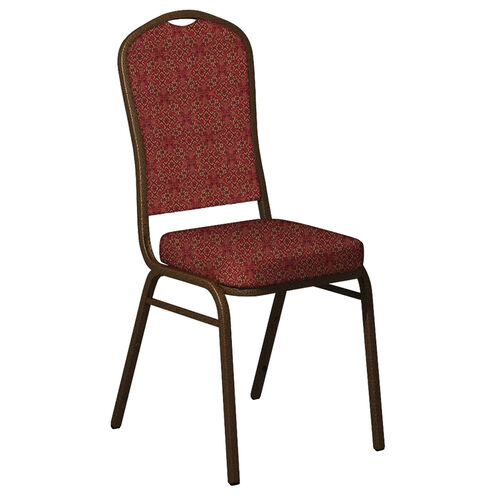 Embroidered Crown Back Banquet Chair in Faith Cranberry Fabric - Gold Vein Frame