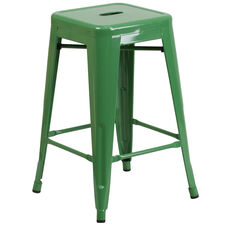 "Commercial Grade 24"" High Backless Green Metal Indoor-Outdoor Counter Height Stool with Square Seat"