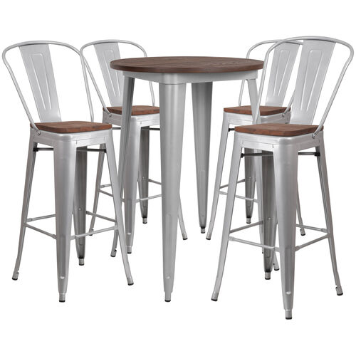 """Our 30"""" Round Silver Metal Bar Table Set with Wood Top and 4 Stools is on sale now."""