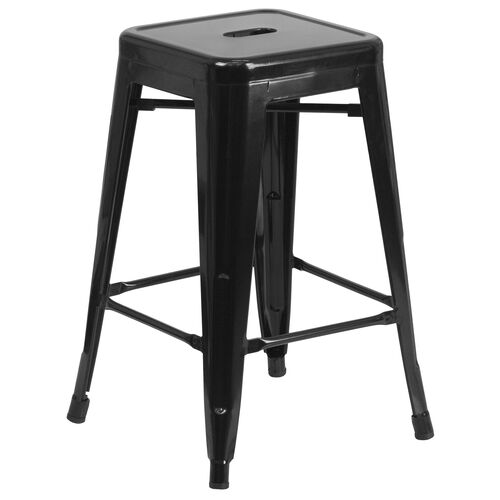 """Our Commercial Grade 24"""" High Backless Black Metal Indoor-Outdoor Counter Height Stool with Square Seat is on sale now."""
