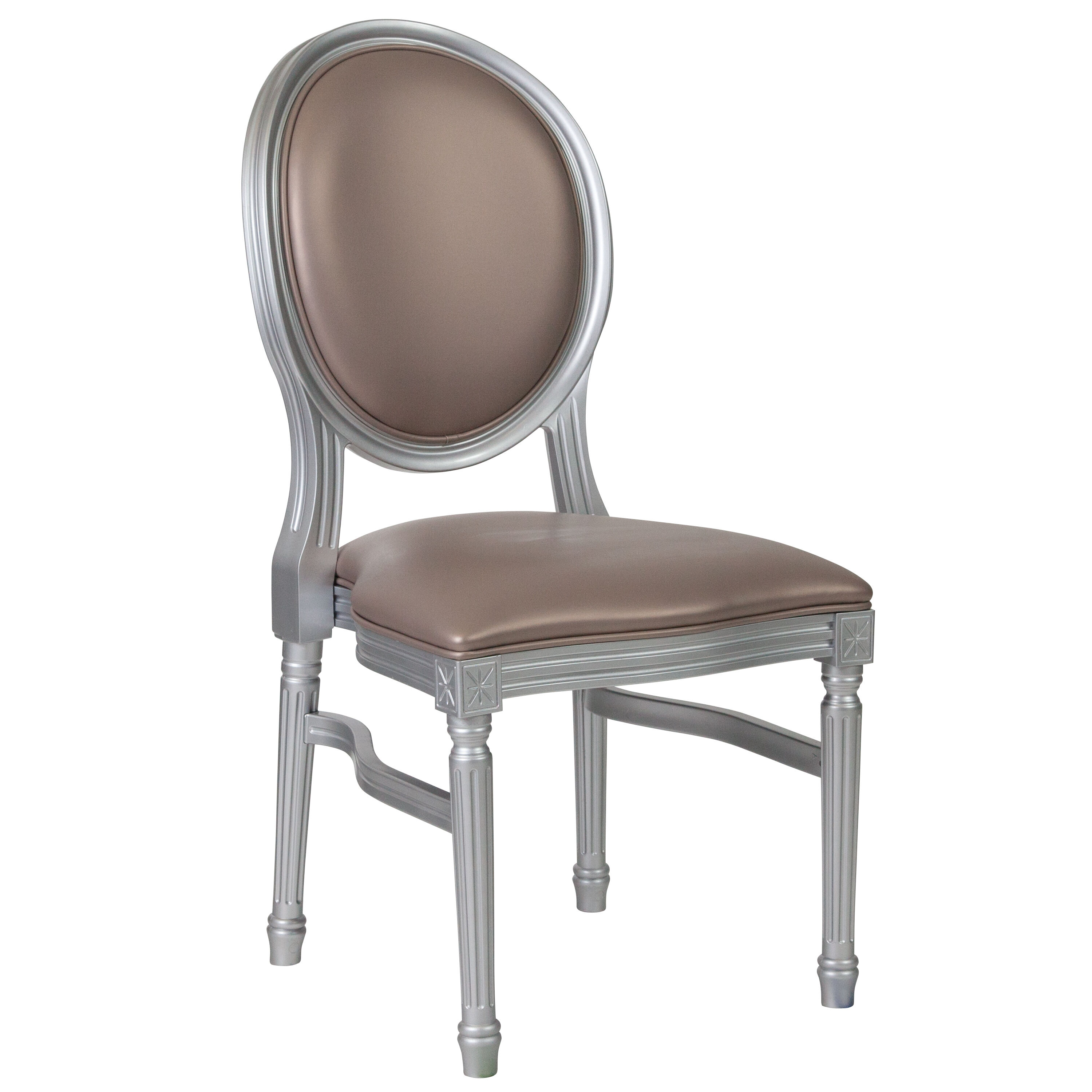 Capacity King Louis Chair With Taupe Vinyl Back And Seat ...