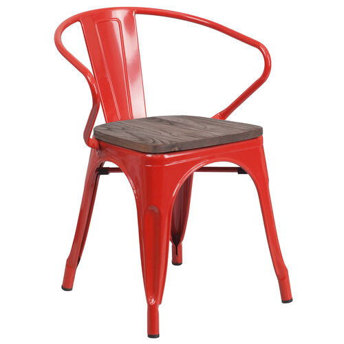 Our Red Metal Chair with Wood Seat and Arms is on sale now.