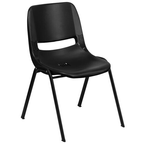 Our HERCULES Series 440 lb. Capacity Black Ergonomic Shell Stack Chair with Black Frame and 14