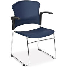 Multi-Use Stack Chair with Plastic Seat and Back with Arms - Navy