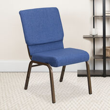 HERCULES Series 18.5''W Stacking Church Chair in Blue Fabric - Gold Vein Frame