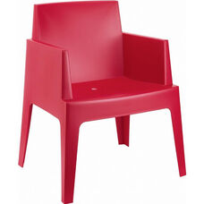Box Resin Outdoor Stackable Dining Arm Chair - Red