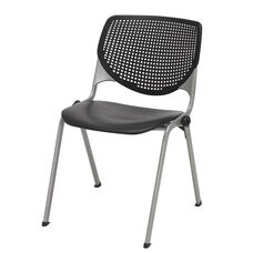 2300 KOOL Series Stacking Poly Armless Chair with Perforated Back and Silver Frame - Black