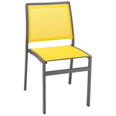 South Beach Collection Stackable Aluminum Outdoor Side Chair with Textile Back and Seat - Mango