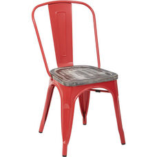 OSP Designs Bristow Metal Chair with Vintage Wood Seat - Set of 2 - Red and Ash Crazy Horse