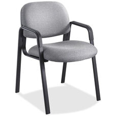 Safco Cava Urth Straight Leg Stacking Guest Armchair with Upholstered Back and Seat - Gray