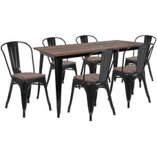 "30.25"" x 60"" Black Metal Table Set with Wood Top and 6 Stack Chairs"
