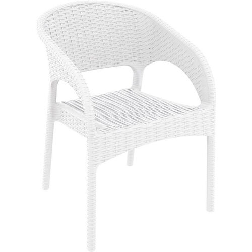 Our Panama Outdoor Wickerlook Resin Stackable Dining Arm Chair - White is on sale now.