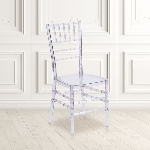"""Flash Elegance Crystal Ice Stacking Chiavari Chair with <span style=""""color:#0000CD;"""">Free </span> Cushion"""