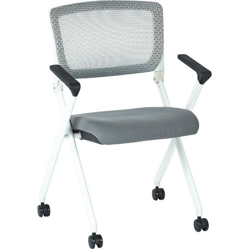 Our Space Pulsar Folding Chair with Breathable Mesh Back and Fabric Seat - Set of 2 - Steel is on sale now.