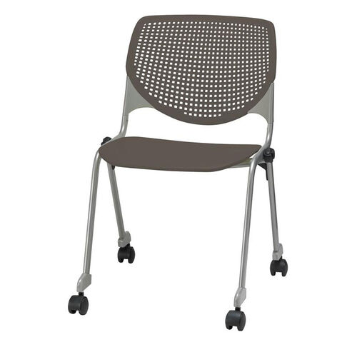 Our 2300 KOOL Series Stacking Poly Silver Steel Frame Armless Chair with Perforated Back and Casters - Brownstone is on sale now.