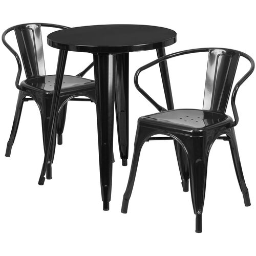 """Our Commercial Grade 24"""" Round Black Metal Indoor-Outdoor Table Set with 2 Arm Chairs is on sale now."""