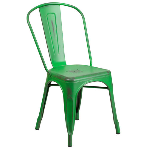 Our Commercial Grade Distressed Green Metal Indoor-Outdoor Stackable Chair is on sale now.