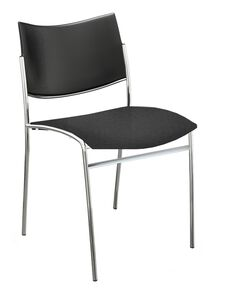 Bistro Escalate Chair with Plastic Back and Fabric Cushioned Seat - Set of 4 - Black