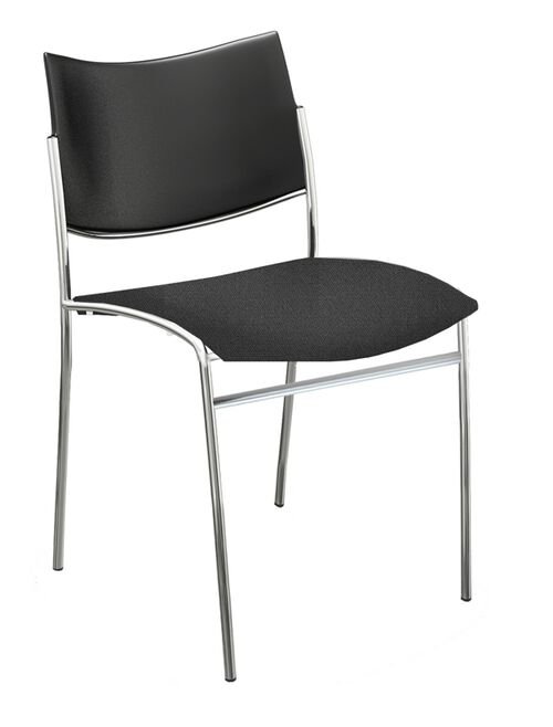 Our Bistro Escalate Chair with Plastic Back and Fabric Cushioned Seat - Set of 4 - Black is on sale now.