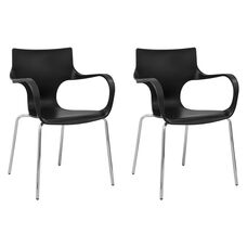 Phin Stackable Chair with Black Seat and Chromed Legs - Set of 2