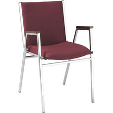 Quick Ship 400 Series Stacking Square Steel Frame Hospitality Armchair with Full Back and 2'' Upholstered Seat