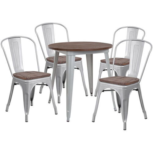 """Our 26"""" Round Silver Metal Table Set with Wood Top and 4 Stack Chairs is on sale now."""