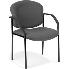 Manor Guest and Reception Fabric Chair with Arms - Gray
