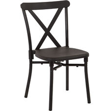 Work Smart X-Back Plastic Stacking Chair with Aluminum Frame - Set of 4 - Black