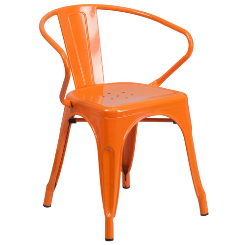 Our Commercial Grade Orange Metal Indoor-Outdoor Chair with Arms is on sale now.