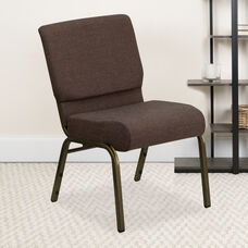 HERCULES™ Series Auditorium Chair - Stacking Padded Chair - 21inch Wide Seat - Brown Fabric/Gold Vein Frame