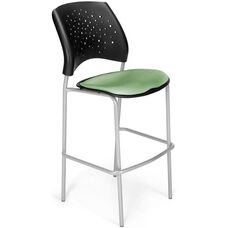 Stars Cafe Height Chair with Fabric Seat and Silver Frame - Sage Green