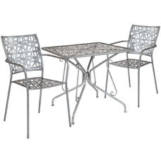 """Agostina Series 31.5"""" Square Antique Silver Indoor-Outdoor Steel Patio Table with 2 Stack Chairs"""