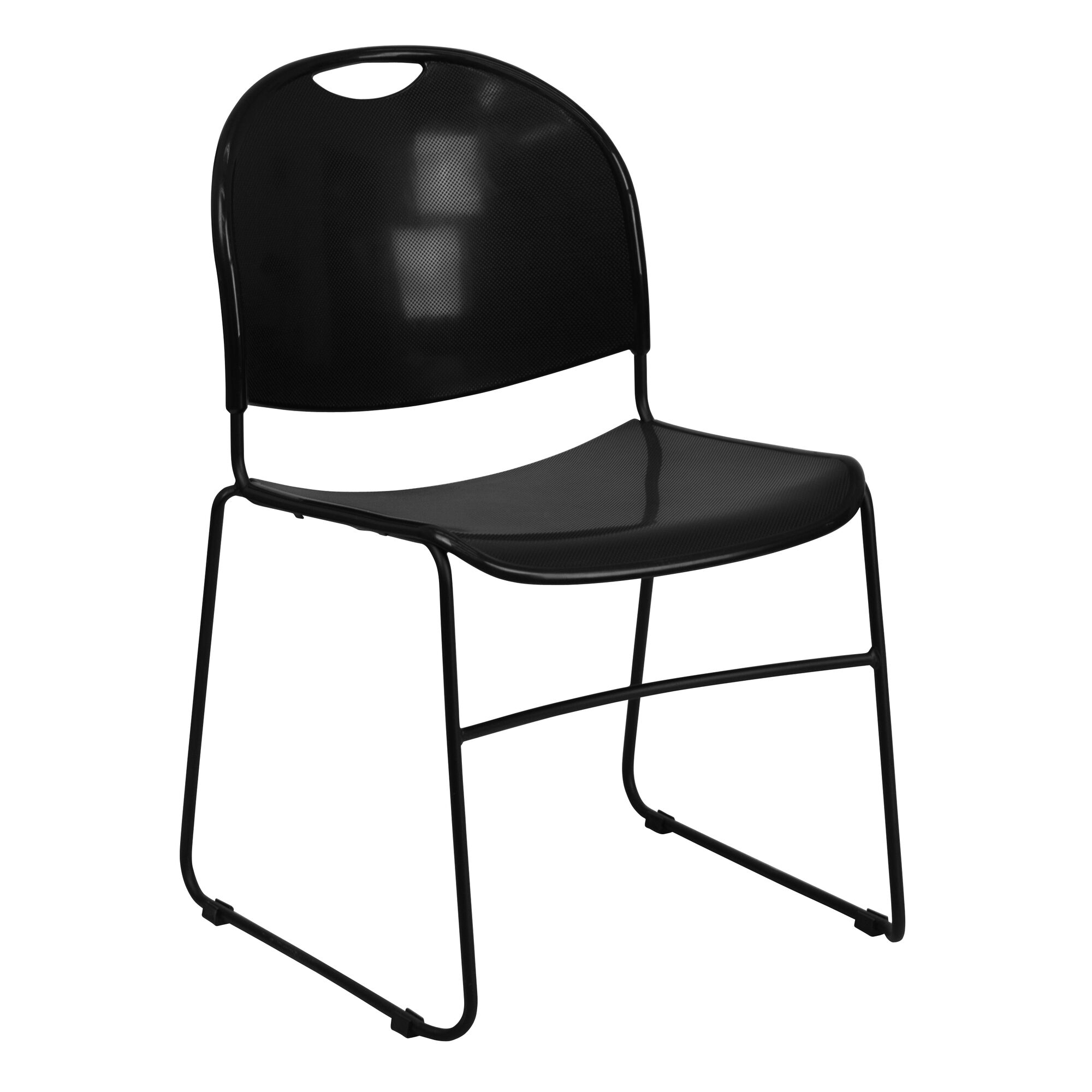 Hercules Series 880 Lb Capacity Black Ultra Compact Stack Chair With Powder Coated Frame
