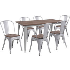 "30.25"" x 60"" Silver Metal Table Set with Wood Top and 6 Stack Chairs"