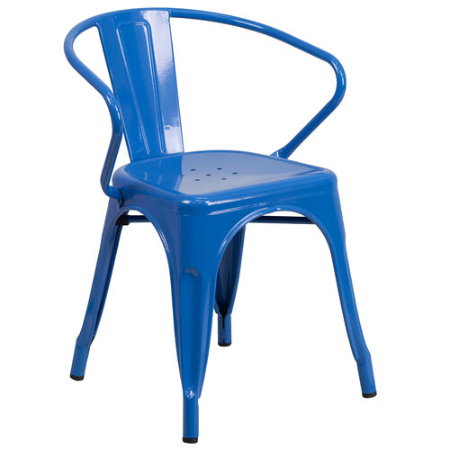Our Commercial Grade Blue Metal Indoor-Outdoor Chair with Arms is on sale now.