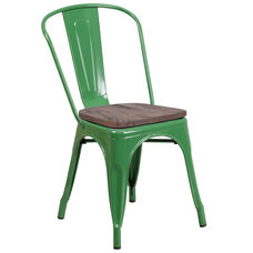 Green Metal Stackable Chair with Wood Seat