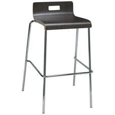 JIVE Series Stacking Bentwood Low Back Cafe Barstool with HPL Surface and Silver Steel Frame - Espresso