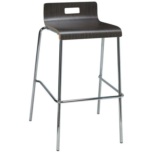 Our JIVE Series Stacking Bentwood Low Back Cafe Barstool with HPL Surface and Silver Steel Frame - Espresso is on sale now.